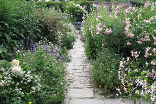 Flagstone path in a garden